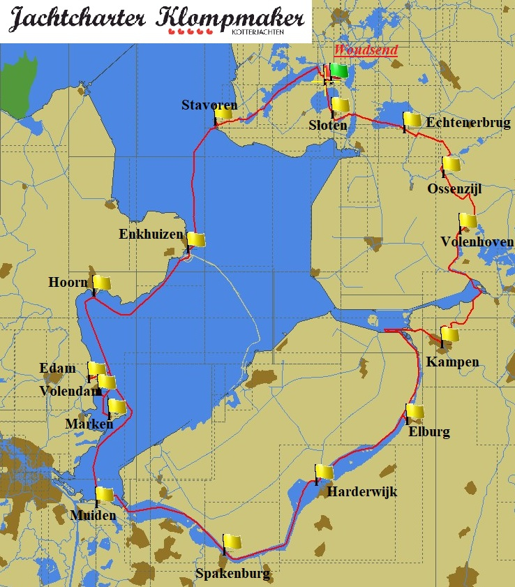 Sailing route Ijsselmeer, Randmeren and Overijssel